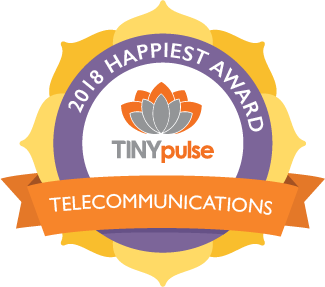 TINYpulse Happiest Telecommunications Company Winner 2018 - click to visit site